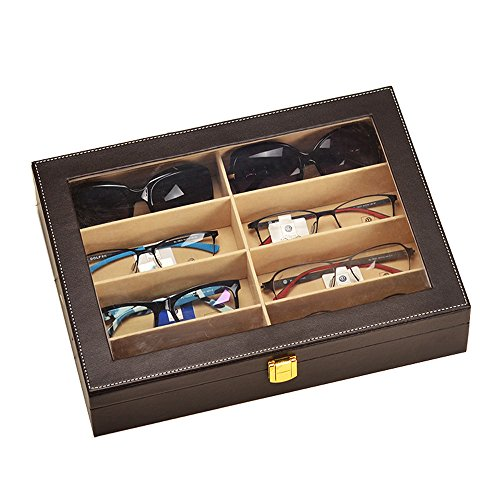 Krokodil-Kunstleder Box Unionplus 8Einschübe für Sonnenbrillen oder Brillen, Display Aufbewahrung, Organizer Sammelbox coffee (Watch Flanell Black)