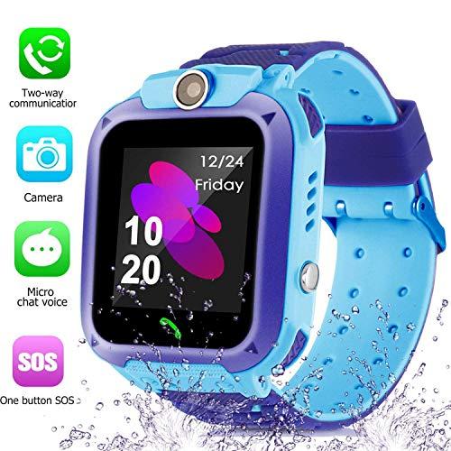 Kinder SmartWatch Phone Smartwatches mit SOS Voice Chat Kamera Taschenlampe Wecker Digitale Armbanduhr Smartwatch Girls Boys Birthday (Wasserdichtes Blue)