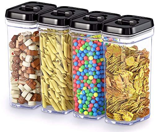 Boîte de conservation alimentaire avec couvercles - En plastique hermétique sans BPA - Gardez les aliments frais au sec avec étiquettes et marqueurs à craie (lot de 4)