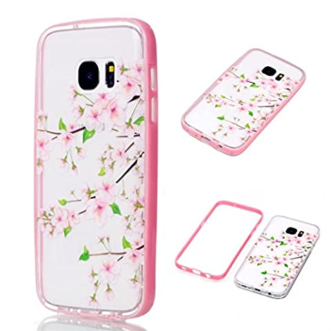 JINCHANGWU Coque en Silicone TPU pour Samsung Galaxy S7 Transparente Premium Souple Etui de Protection Ultra Slim absorbant les chocs Anti-rayures--Cherry blossoms Spring