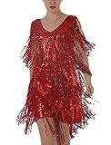 Damen Abendkleider Mit Pailletten Cocktail Partykleider Cocktailkleid Quaste Glitzer Kurz V-Ausschnitt Ärmellos Hipster One Size