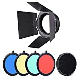 Andoer 96mm Supporto Universale Metallo Barn Door + a nido d'ape Griglia+ 4pcs Filtri gel di Colore per Neewer Godox 180W 250W 300W Andoer MD-250 MD-300 Studio Strobe Light Flash