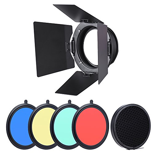 Andoer 96mm Universal Mount Metal Bardoor Barn Door Barndoor mit Wabenraster 4pcs Color Gel Filter für Neewer Godox 180W 250W 300W Andoer MD-250 Studio Strobe Blitzlicht Monolight -