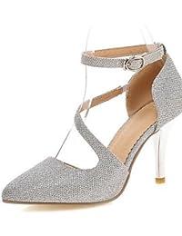 LEI&LI Zapatos de boda - Tacones - Tacones - Boda / Vestido / Fiesta y Noche - Plata / Oro - Mujer / Para Niña , 3in-3 3/4in-silver