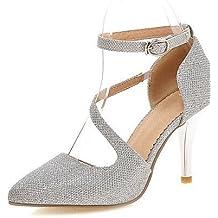 Scarpe con tacco da donna eleganti color Argento Grigio