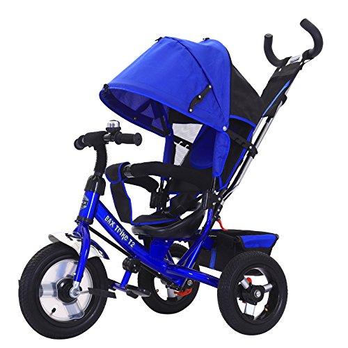 Bax T2 Airwheel Dreirad Blau mit Lenkung Sonnendach Luftreifen Lufträder Schieben Trike Schieben