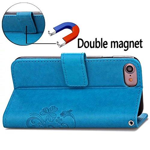 Eaquro Custodia in Pelle iPhone 8 Wallet Case a portafoglio con Card Slot [chiusura magnetica] in pelle ultra-sottile con funzione di supporto,Cover Morbido Antipolvere Protezione per iPhone 8 - Grigi Celeste