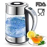 Openuye Glas Wasserkocher Elektrischer Wasserkesse, 1,7 L Teekessel Präziser variabler Temperaturkontrolle und Warmhaltefunktion | 2200W | Überhitzungsschutz | Auto-OFF