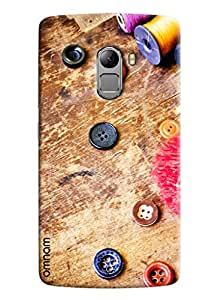 Omnam Thread And Button Designerd Printed Designer Back Cover Case For Lenovo K4 Note