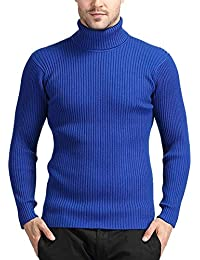Amitafo Maglione con Collo Alto Pullover da Uomo Lunga Slim-Fit in Maglia a  Manica 46ded61c97db