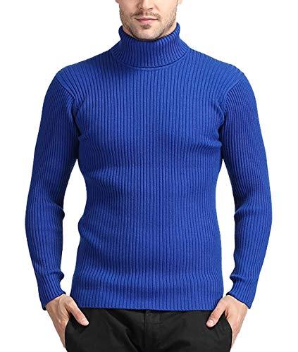 Amitafo maglione con collo alto pullover da uomo lunga slim-fit in maglia a manica abbottonatura