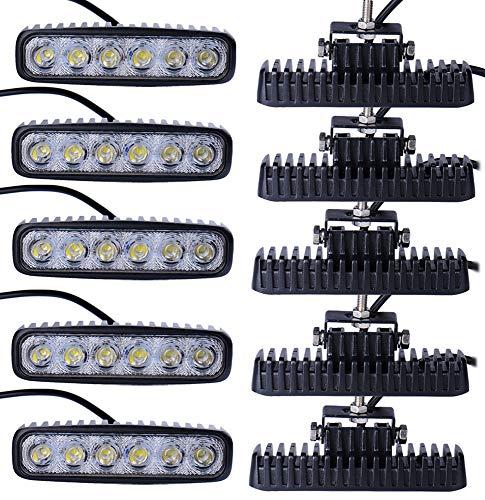 Leetop 10X 18W LED Arbeitslicht Offroad Flutlicht Spotlight Reflektor 12V 24V Scheinwerfer Arbeitsscheinwerfer 1600LM IP67 Wasserdicht Schwarz Aluminium Druckguss -