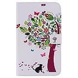 Funluna Samsung Galaxy Tab 4 7.0 Hülle, Stoßfest PU Leder Tasche mit Auto Schlaf/Wach & Ständer Funktion Dokumentschlitze Folio Schutzhülle für Samsung Galaxy Tab 4 7,0 SM-T230/T235, Cat&Tree