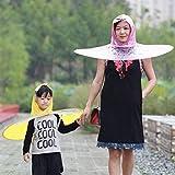 Cheshtha Girls and Boys Foldable Raincoat Umbrella, UFO Shape Umbrella Hat Magical Hands Free Outdoor Fishing Kids Adult Rain Gear Cover Cartoon Raincoat for Kids