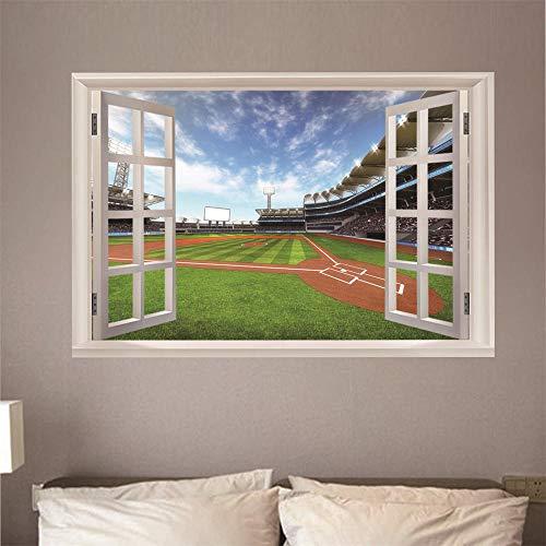 3D Fensterblick Leinwand - Wandbild - Fototapete - Poster - Fensterblick - Panorama Bilder - Dekoration - Stadion,100x70cm -