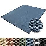 casa pura Teppich Sabang | viele Farben und Größen | Flachgewebe, Sisaloptik | Qualitätsprodukt aus Deutschland | GUT Siegel | für Wohnzimmer, Kinderzimmer, Flur etc. (blau, 200x200cm)