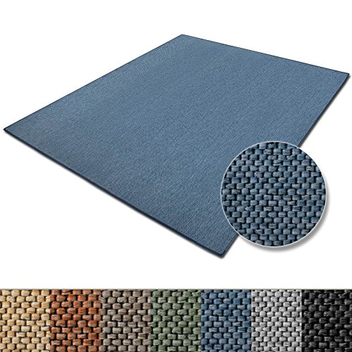 casa pura Teppich Sabang | viele Farben und Größen | Flachgewebe, Sisaloptik | Qualitätsprodukt aus Deutschland | GUT Siegel | für Wohnzimmer, Kinderzimmer, Flur etc. (blau, 80x150cm)