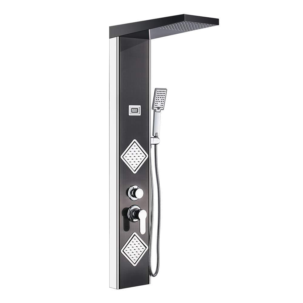 JUNSHENG Panel de Ducha Moderna Acero Inoxidable Columna de Hidromasaje Para Ba/ño Con LED Alcachofas 5 Salida de Agua LCD Pantalla de Temperatura,N/íquel cepillado