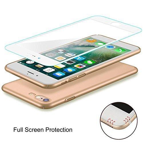 Coque iPhone 6 Plus/6s Plus, Joyguard iPhone 6/6s Plus Coque avec [Plein Ecran en Verre Trempé Protecteur] [Ultra Mince] [Ultra Léger] Anti-Rayures Anti-dérapante iPhone 6 Plus/6s Plus Case Coque Hous Or