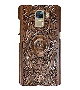 printtech Wooden Carving Design Back Case Cover for Huawei Honor 7 Enhanced Edition / Huawei Honor 7 Dual SIM with dual-SIM card slots