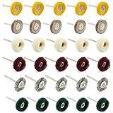 WiMas 30 STÜCKE Polieren Pad Schleif Polieren Rad Pinsel Mixed Set Stahldrahtbürste Wolle Räder für Dremel Rotary Zu