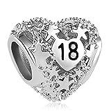 Sug Jasmin  Perle pour bracelets Charm Cœur Cérémonie 18ème anniversaire