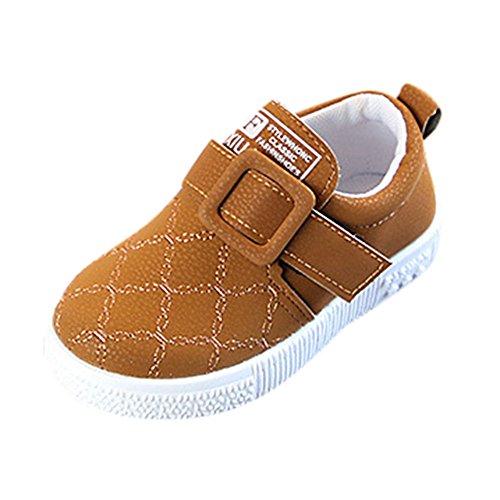 Fenverk Kinder Sneaker Kleinkind Baby Schlittschuh Jungs Weich Anti-Rutsch Sport Schuhe Winter Warm Halten Schnitt Sohle Turnschuhe Leder(Gelb,23 EU)