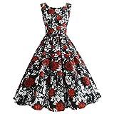 TEBAISE Sommer Klassischen Stil Frauen Vintage Printing Bodycon Feast Schlank Sleeveless Halter Abendgesellschaft Prom Swing Kleid Layered Rock(Rot,EU-36/CN-M)