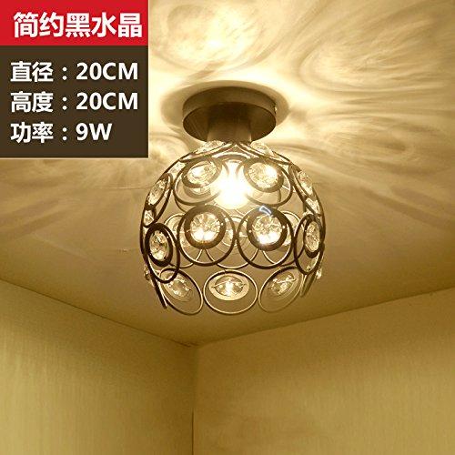 BESPD Gang Einfache moderne Korridor LED-Halle Runde Decke Hängeleuchte Kronleuchter Deckenlampe Crystal Ball Schwarz 9W Blase led -
