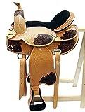 Baumloser Westernsattel ZUNI ECO aus Büffelleder mit Klettkissen, Größe:16 Zoll