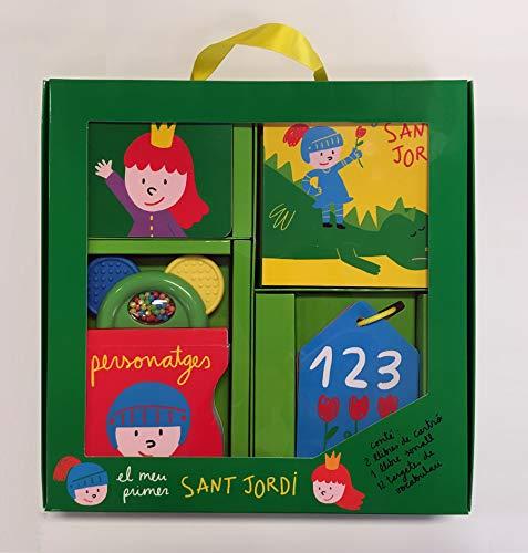 El primer regal perfecte per al bebè, amb un llibre sonall, un llibre sense mots amb la llegenda de Sant Jordi, un llibre dels colors i unes targetes de vocabulari amb els números. La millor manera per divertir-se aprenent.
