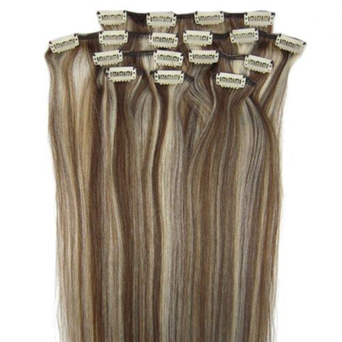 fashionline 38,1 cm Brun/Blond (# 4/613) 100% Remy Hair Lot de 8 extensions capillaires à clipser 100 g poids