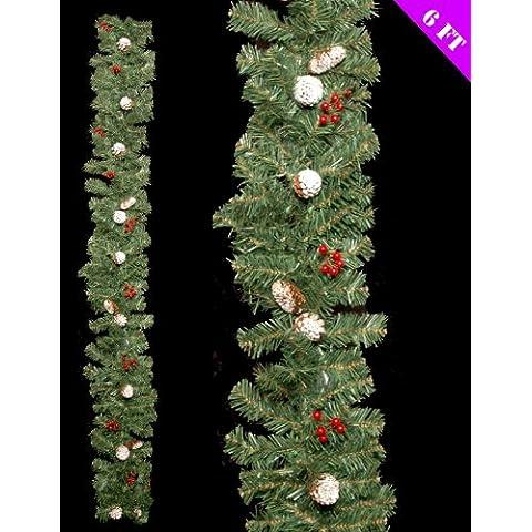 6ft hermosos decoración de la guirnalda de pino Nevado de decoración de Navidad (dp106)