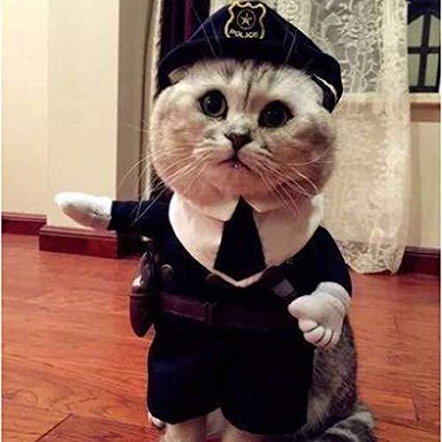 JING Katze Kleidung Hund Shake Sound Gleiche Haustier Kostüm Baby Katze Lustige Lustige ÄNderung Kleid Aufrecht Schwarze Katze Sheriff XL/Costume du shérif de Chat Noir (Hunde Baby Kostüm)