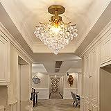 Européenne de luxe cristal plafonnier Rétro Boule de cristal Lustre romantique de raisin Corridor Chambre d'or plafonnier, φ40cm E14* 3(non incluses)