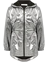 M&Co Kite and Cosmic Girls Metallic Silver Long Sleeve Zip Pocket Front Hooded Lightweight Parka Jacket