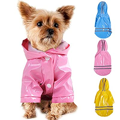 Smoro Outdoor Puppy Pet Rain Coat with Hood Waterproof Jackets PU Reflective Raincoat for Dogs Cats Apparel Clothes from Smoro