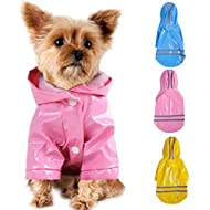 Smoro Outdoor Puppy Pet Rain Coat with Hood Waterproof Jackets PU Reflective Raincoat for Dogs Cats Apparel Clothes