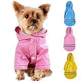 Smoro Im Freienwelpen Haustier Regenmantel mit Hauben Wasserdichten Jacken PU Reflektierendem Regenmantel für Hunde Katzen Kleid Kleidung