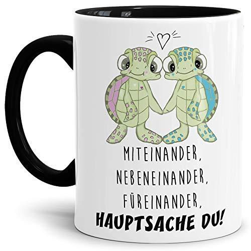 Tassendruck Schildkröte-Tasse mit Spruch Miteinander, Nebeneinander, Füreinander, Hauptsache du! -...