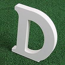 Letras madera blancas alfabeto,Alfabeto de madera blanca pura A-Z Decoraciones modernas Para la boda Cumpleaños Fiesta Casa (D)