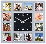 K2M Wanduhr mit 12 Fotorahmen Bilderrahmen 32x32 Fotouhr Fotowanduhr Bilderrahmenwanduhr Geschliffenes Spiegelglas