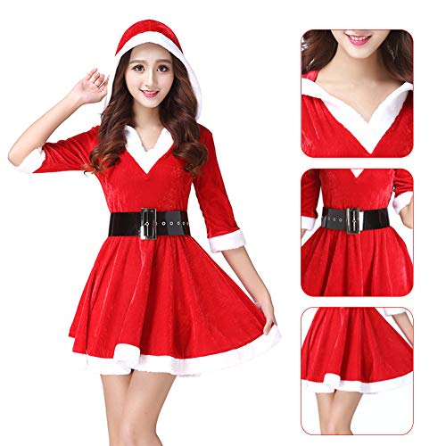 ies Adult Xmas Fancy Dress Deluxe Velvet Costume Womens Claus Miss Mrs Outfit (ROT mit Gürtel) ()