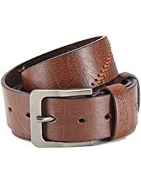 """Leather belt with PU, embossing and stitching, width 1.5"""", unisex, easy shortened"""