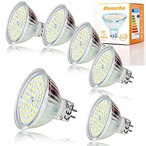 3 Stück Mr16 Led (MR16 LED Warmweiss, Wenscha 6er MR16 GU5.3 12V LED Lampe, 5W Warmweiß 2800K Ersetzt 40W Halogenlampe, Kein Stroboskopeffekt, 400Lumen Birne Leuchtmittel, 120° Abstrahwinkel Spot, Nicht Dimmbar)