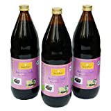 Bio Aronia Saft, 100% Direktsaft in der 1000ml Glasflasche, 3 x 1000ml