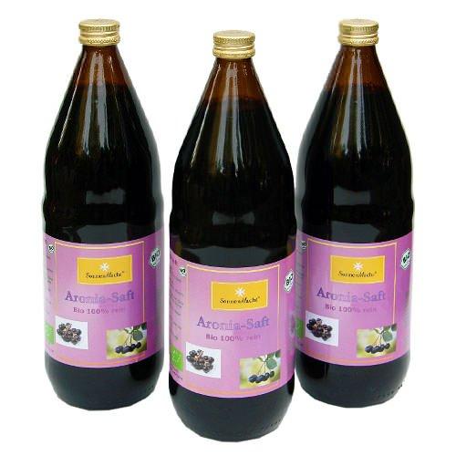 BIO Aronia Saft, 100 % Direktsaft in der 1000ml Glasflasche, 3 x 1000ml