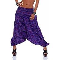 Pantalones de harén de mujer Pantalones de yoga Aladdin Pantalones de harén ancho Algodón de patrón oriental (Talla única, 36-44)