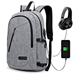 Anti-Theft Backpack, GIM Theft Business Laptop Backpack with USB Charging Port and Earphone Port with Lock Slim Water Resistant Bag Daypack Fits 15.6 Inch Computer Notebook Rucksack for Work, College,