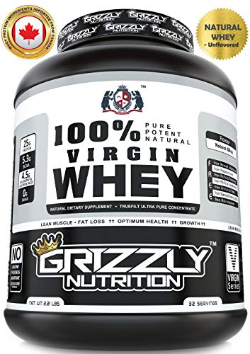 Grizzly Nutrition – 100% Virgin whey protein – with digestive enzymes & probiotics – 2.21lb-1kg
